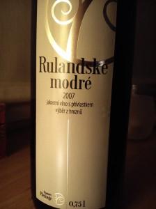 Rulandské modré 2007 jakostní víno s přívlastkem výběr z hroznů Vinařství Plešingr