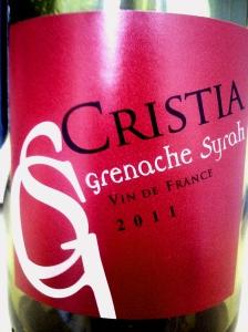 Cristia Grenache Syrah Vin de France 2011