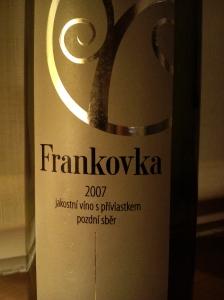 Frankovka 2007 jakostní víno s přívlastkem pozdní sběr Vinařství Plešingr