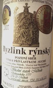 Ryzlink rýnský 2007 pozdní sběr víno s přívlastkem Školní statek Mělník