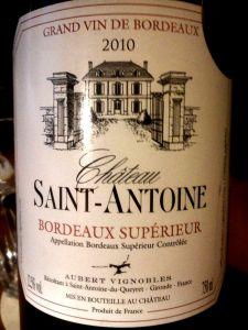 Château Saint-Antoine Bordeaux Supérieur AOC 2010