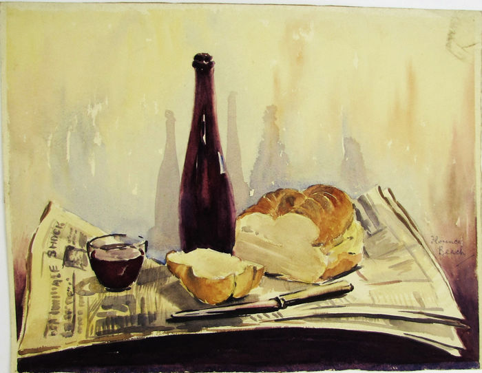 florence-beach-terry-1880-1958-still-life-knife-wine-and-bread
